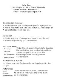 Resume For A Bartender New Bartender Resume Cover Letter Resume Examples Waitress Job Example