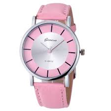 Elegant Formal Dress Pu Leather Strap Pink Woman Gift silver Face Teen Watch