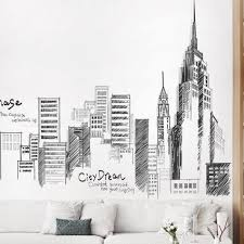black color large tall city buildings set wall stickers pvc diy mural art for living room
