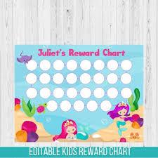 Reward Chart Mermaid Reward Chart Under The Sea Chore Chart
