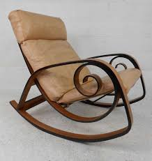 this vintage modern rocking chair features stylish bentwood frame and incredibly comfortable leather seating quality
