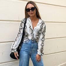 New 2019 <b>Fashion autumn</b> Snake print <b>women chiffon</b> blouses ...