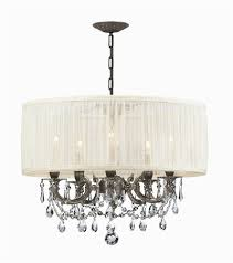 ornate casted pewter chandelier w clear crystal