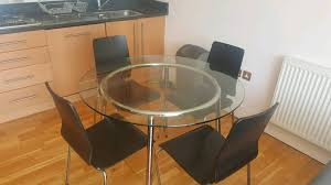 ikea salmi round glass table with 4 chairs