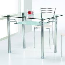 Glass top for table Designs Modern Minimalist Glass Top Table With Stainless Steel Legs Stainless Steel Dining Chair With White Cushion Homesfeed Glass Top Dining Tables Homesfeed