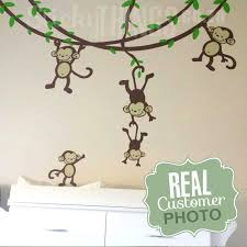 the monkey nursery wall art sticker is monkey vines with leaves 3 large monkeys and