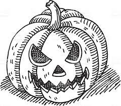 pumpkin drawing. halloween pumpkin drawing royalty-free stock vector art