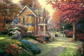 thomas kinkade victorian autumn painting print