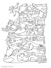 Dog And Cat Coloring Pages Free Printable Pictures