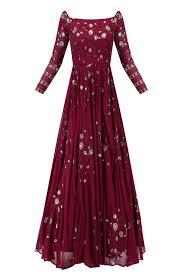 Off Shoulder Designer Suits Dark Maroon Floral Work Off Shoulder Anarkali Gown Available
