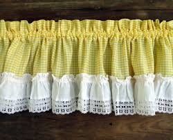 Yellow Gingham Kitchen Curtains Vintage Curtains Valances Panels Yellow Gingham Check White Ruffle