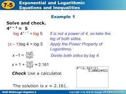 holt mcdougal algebra exponential and logarithmic equations solving logarithmic equations algebraically jennarocca