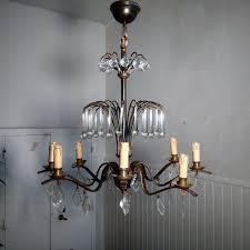 old bronze crystal chandelier