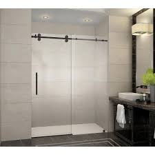 frameless sliding shower door in oil rubbed