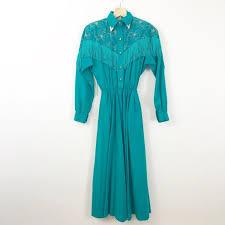 Vintage Dresses | Vtg 9s Lilia Smith Turquoise Western Midi Dress | Poshmark
