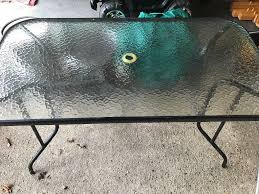 patio table glass top black frame centre hole for parasol