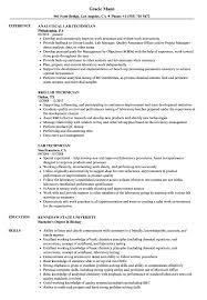 Lab Technician Resume Sample Lab Technician Resume