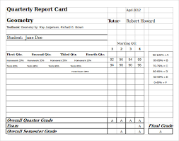 Report Card Template Pdf Sample Homeschool Report Card 5 Documents In Pdf Word Excel