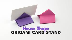origami square house shaped card stand tutorial diy paper kawaii you