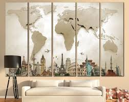 Large Wall Art World Map Large Print Beige World Map Big World Map Canvas  Print Custom Quote Map Travel World Map Wall Art Map With Landmarks