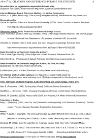Apa 6 Th Ed Citations And References Format For Students Summary