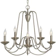 allen roth wintonburg 5 light brushed nickel williamsburg candle chandelier