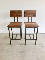 industrial wood furniture. Unique Industrial Set Of Two Oak Reclaimed Wood Stools With Blackened Industrial Steel Base And Furniture