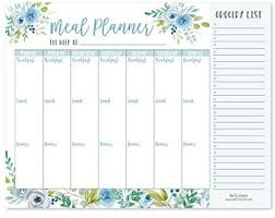 Weekly Meal Planer Teal Floral Weekly Meal Planning Calendar Grocery Shopping List Magnet Pad For Fridge Magnetic Family Pantry Food Menu Board Organizer Week Diet