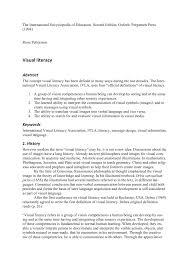 Visual Literacy Definitions Pdf Visual Literacy