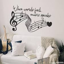 music notes in words music quote wall decal music notes when words fail music speaks music lover decor music decor wall decal