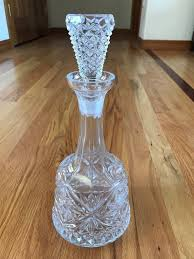 vintage glass wine liquor decanter fitted stopper 12 tall x 5 diameter base