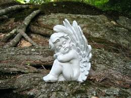 garden angel statues. Guardian Angel Statue Garden Sculpture Cherub Concrete Resting Eyes . Statues