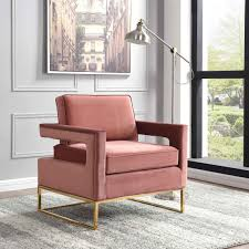 noah modern pink velvet gold stainless steel base accent chair