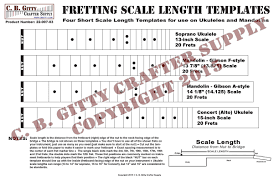 Short Templates Ukulele And Mandolin Fretting Scale Length Template 4 Short Length