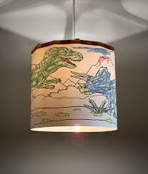 Colouring Dinosaurs Lampshade Educational Ideal For Childrens Room And Nursery Ceiling Pendant Magnetic