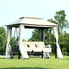 canopy swing living accents steel 3 person with l patio bed costco