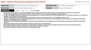 lobbyist job resume