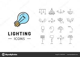 icon lighting. Contemporary Lighting Lamp Icon Set Lighting Store Flat Design Brand Identity Graphics U2014 Stock  Vector For Icon