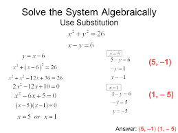 10 solve the system algebraically use substitution