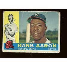 1960 Topps Baseball Card #300 Hank Aaron B