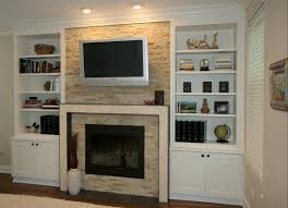 glorious white wooden fireplace entertainment center with bookshelves also ceiling lights as modern white family room decorating ideas