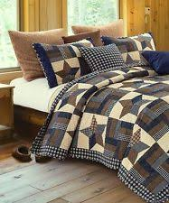 Country Quilts   eBay & WOODLAND STAR ** King ** QUILT SET : COUNTRY CABIN LODGE 5 POINT BLUE Adamdwight.com