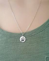 sterling silver bear paw necklace bear