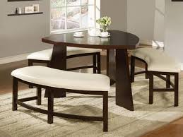unique circular white upholstered benches for modern dining room remodeling ideas with chocolate brown triangular table