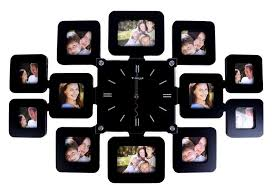 LGI Family Time Contemporary Decorative Family Picture Frame Clock with  Glass Frame