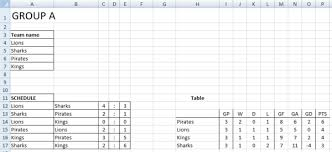 Schedule Table Maker Sport Tournament Template