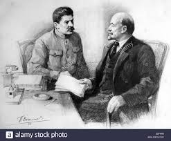 lenin and stalin joseph stalin at right with vladimir lenin in a 1945 drawing by