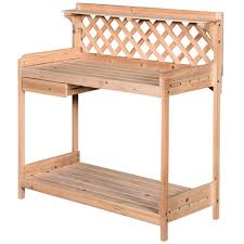 outsunny outdoor wood potting table