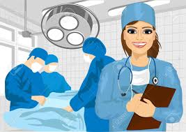 surgeon nurse attractive female surgical nurse in operating room holding clipboard
