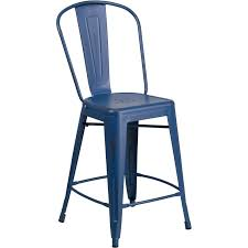 outdoor counter height stools. 24\u0027\u0027 High Distressed Antique Blue Metal Indoor-Outdoor Counter Height Stool With Back Outdoor Stools R